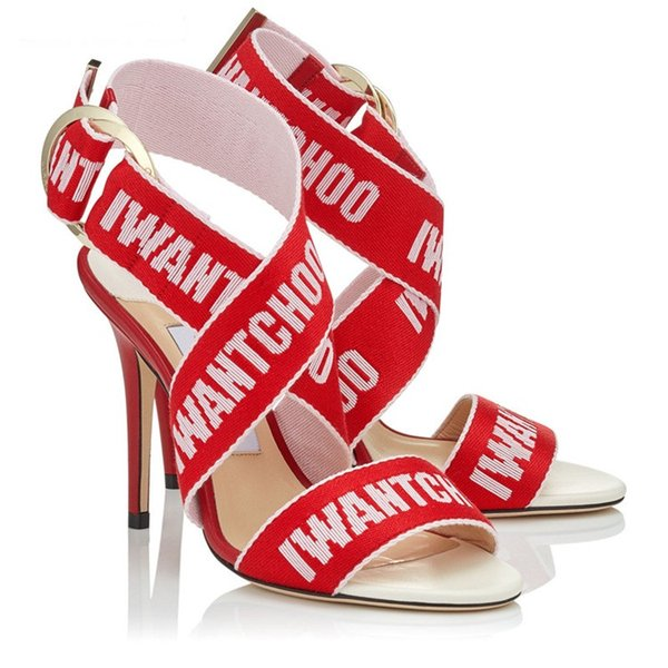 New Arrival 2018 Designers Wide Letter Lace Sandals Shoes High Heels One Buckle Lady Summer Gladiators Party Event Stilettos