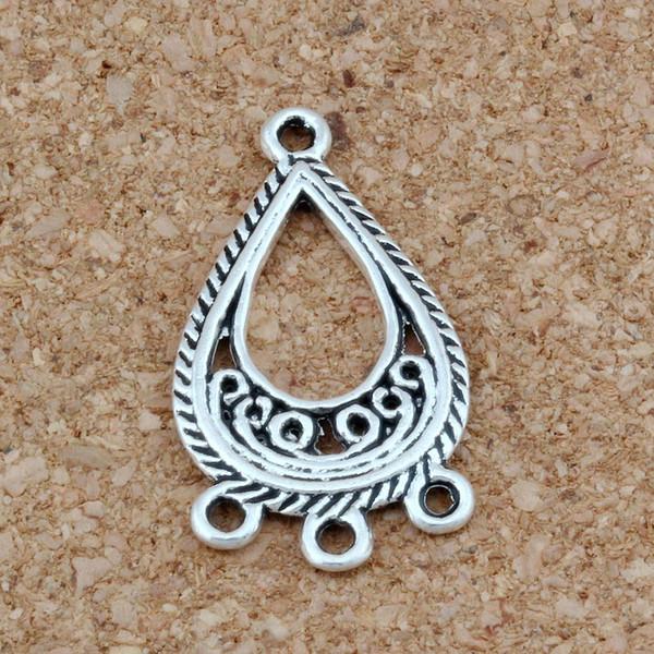 Античное серебро открыть филигрань цветок слеза 3-нить распорка конец разъем Fit кисточкой серьги 15X27MM ювелирные изделия DIY
