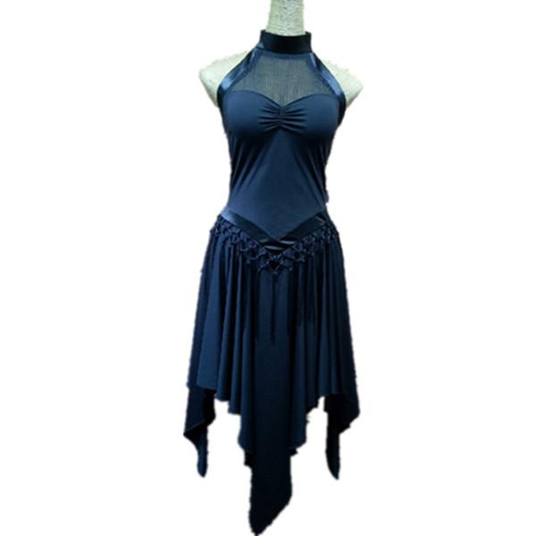 Vestido de baile latino Sin mangas Seda Leche Señora Salón Vestidos de Tango Cha Salsa Ropa Para Mujeres Ropa de práctica latina DQ11331