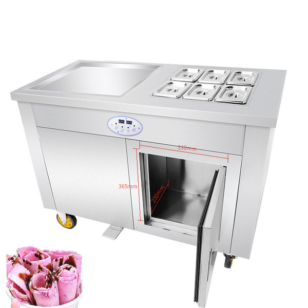 Beijamei Stainless Steel Commercial Use 110v 220v Thai Fry Pan Ice Cream Rolled Yogurt Roll Machine