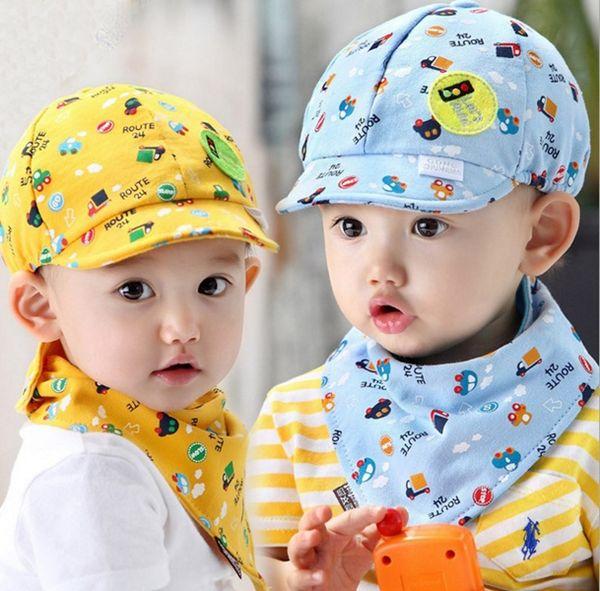 lovely baby hats bibs set kids hat and bibs toddlers infant hat little car baseball beret cap+saliva towel 2pcs/set