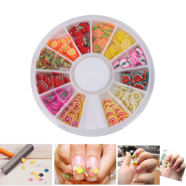 120Pcs 3D Nail Art Fruit Pattern Manicure Fimo Canes Sticker DIY Decoration Tool