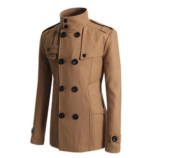 Herren Herbst Winter in Europa und die neue Business Fashion Zweireiher lange reine Farbe Wolltuch Trenchcoat Plus Größe M-3XL