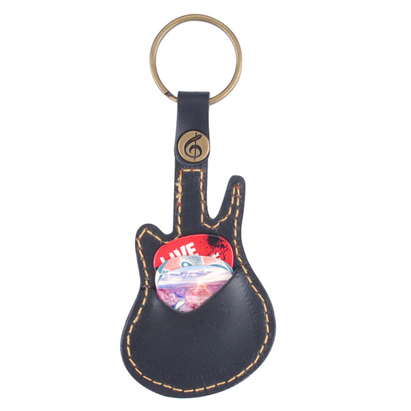 best selling Leather Kechain Type Guitar Picks Holder Bag Case Guitar Accessories With 5pcs Picks
