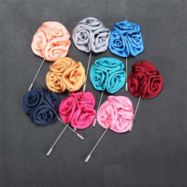 15 uomini classici di colore spilla fiore spilla moda imitato tessuto in seta fiore all'occhiello del bastone spilla per abito da sposa partito gioielli