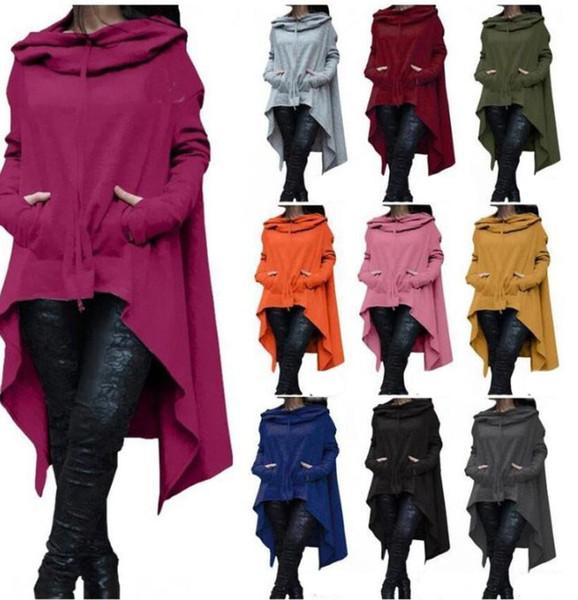 best selling XS-5XL Irregular Sweatshirts Autumn Long Sleeve Kangaroo Pockets Hoodies Pullovers Hooded Loose Solid Color Irregular Sweatshirts Coats