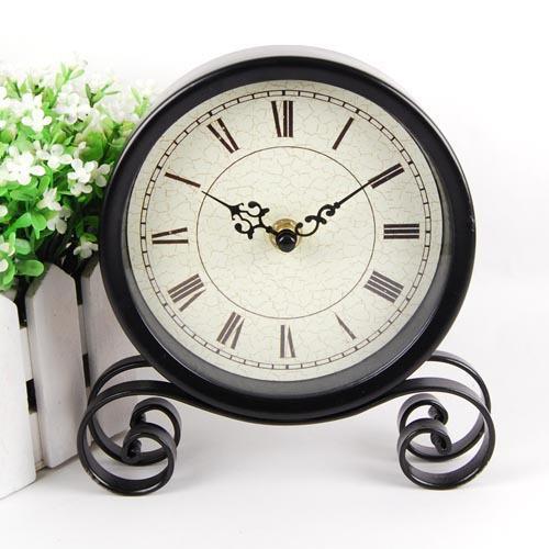 European antique style iron antique style desk clock black mute table clock study home decoration