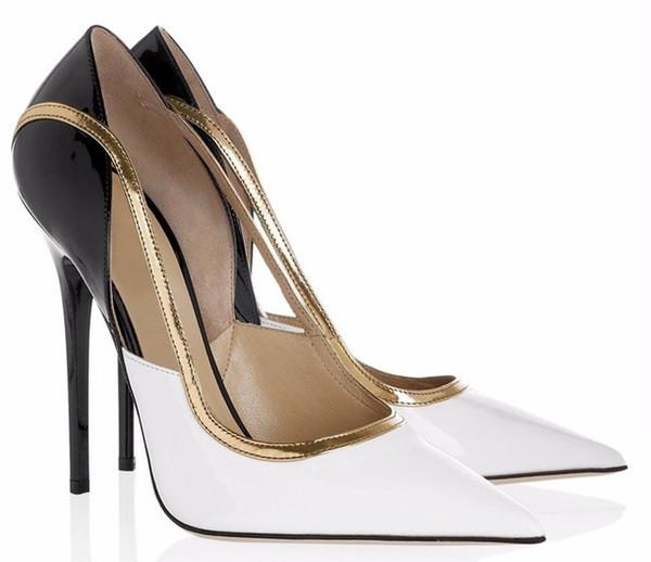 Yeni Kadın Beyaz Siyah Deri Altın Trim Ince Yüksek Topuklar Klasik Karışık Renkler Pompaları Üzerinde Kayma Moda Sivri Burun Ayakkabı