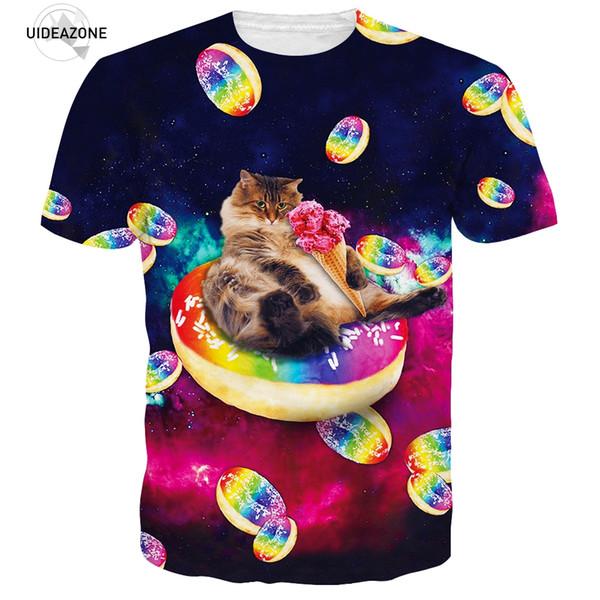 3D Animal Cat T Shirt Men/Women 2017 Short Sleeve Ice Candy Kitty Space Galaxy Summer Tops Casual T-shirts XXL Dropship