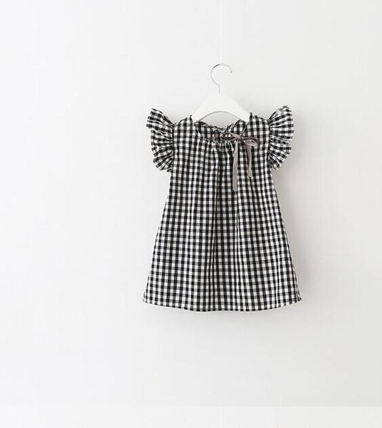 Çocuk gömlekleri kız elbise ekose yay şerit prenses kollu bir satırı elbise kız yaz pamuk çocuk giysileri uçmak saçak çocukları başında