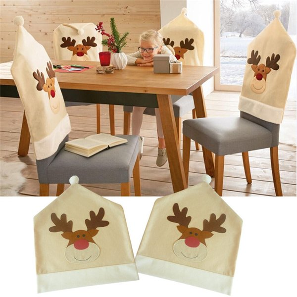 4pcs /Lot Christmas Elk Chair Covers Cute Deer Chair Cover For Dinner Decor Home Decorations Ornaments Supplies Wholesale