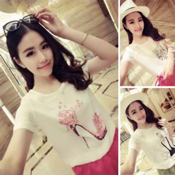 High Heels Print T Shirt Women Summer Novelty Diamonds Tops Short Sleeve Cute Plus Size White T-Shirt Tops Tees Feminina A253