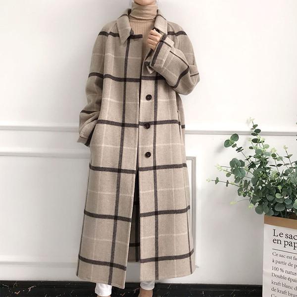 Women Lattice 100% Woolen Coat 2018 Autumn Winter Lapel Cashmere Long Overcoat Button Wool Blend Jacket Fashion Loose Cape PJ324