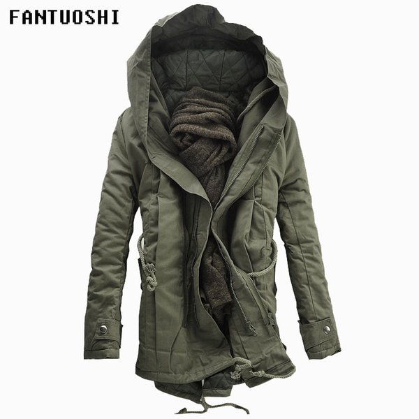 2018 New Men Padded Parka Cotton Coat Winter Hooded Jacket Mens Fashion large size Coat Thick Warm Parkas Black army green 6XL C18110801