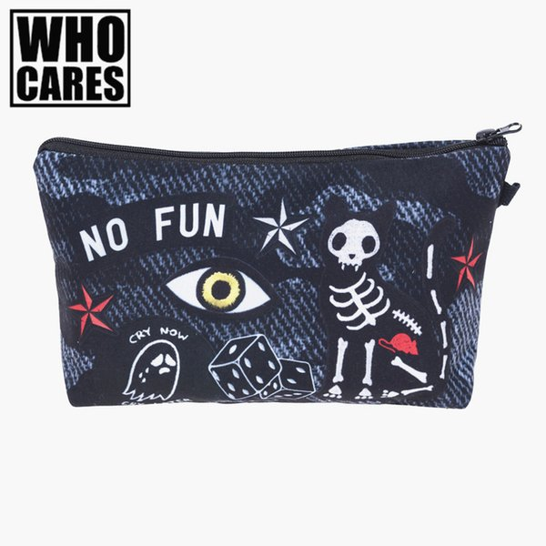 No fun patch 3D printing Pencil bags cosmetic bag organizer Fashion 2017 who cares trousse de maquillage necessaire women pouch