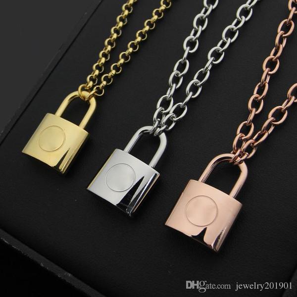 Alta qualidade de aço inoxidável 316L V carta lock colar bruto Moda amor colar Nunca se desvanece atacado barato preço marca de jóias