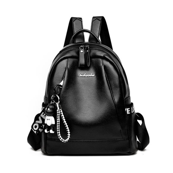 BANGE Black PU Leather Women Laptop Backpack High Quality Girls School Bags Softback BackpacFemale s Mujer 2018 Bear