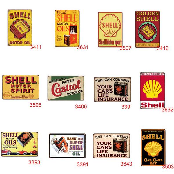 Venta caliente vintage retro rústico cartel de chapa hogar pub bar restaurante café decoración Hombre Cueva Motor Aceite Shell Motorsport signo