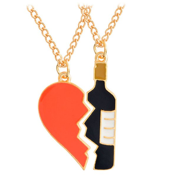 Enamel Wine Bottle Heart Puzzle Necklace Red Love Heart Necklace Couple Pendants Fashion Jewelry Friendship Gift DROP SHIP 162663
