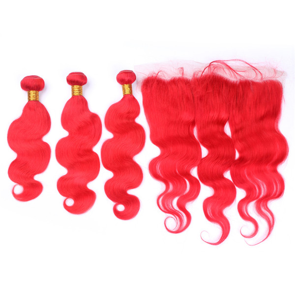 Red Color Virgin Human Hair 3bundles With Lace Frontal Body Wave Bright Red Hair Extension With Ear To Ear Frontal 13x4