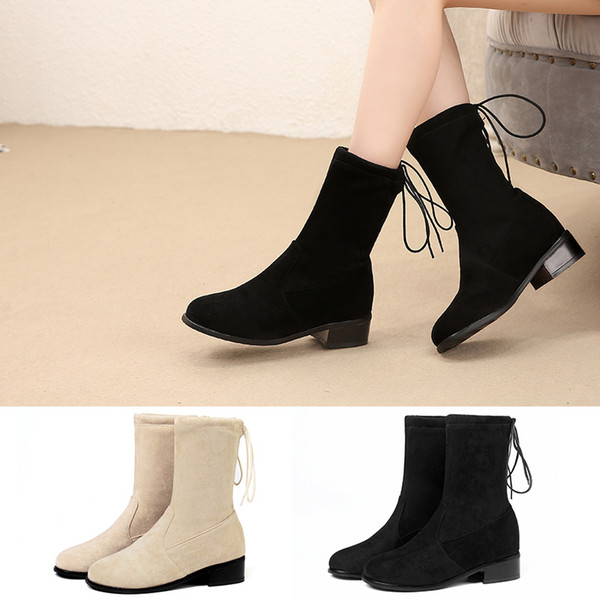 2e8653b96afa fashion women ankle boots stretch faux suede soft winter black booties  chunk heel back lace up