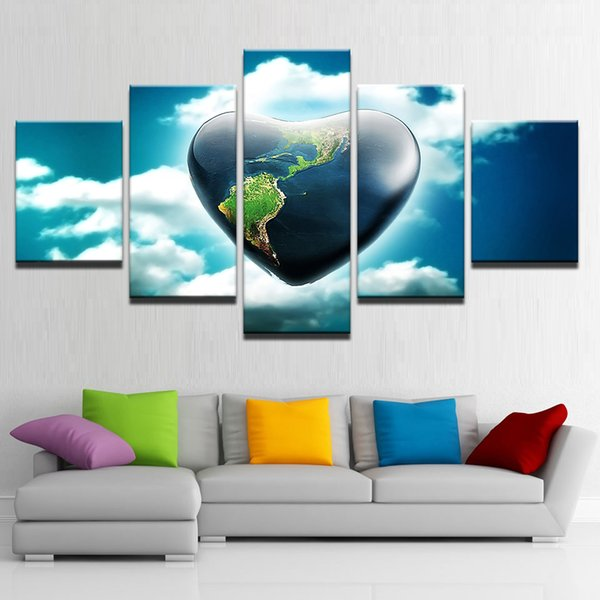 HD Printed Wall Art Pictures 5 Pieces Love Heart Stone Map Paintings Blue Sky Posters Canvas Frame Living Room Home Decoration