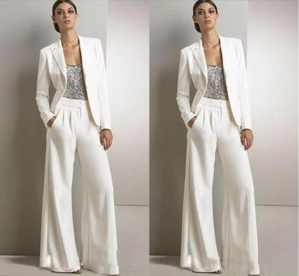 2020 Ivory White Pants Suits Mother Of The Bride Dresses Formal Satin Tuxedos Women Party Wear Evening Gowns Mother Bride