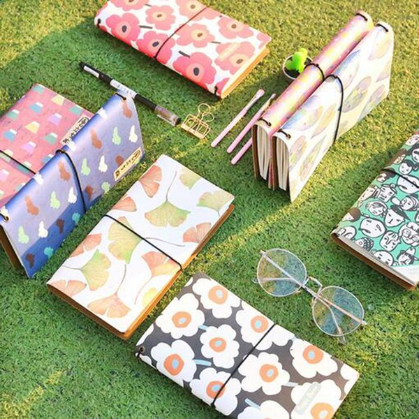 Creative Flower Leaves PU Leather Cover Planner Notebooks Diary Book Exercise Composition Binding Note Notepad Gift Stationery
