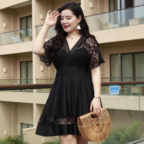 2018 Lace 7XL fat plus size swimsuit one piece swimwear women black sexy bathing suit for women Brazilian girls beachwear dress