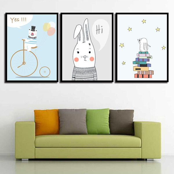 Picture Quote HD Poster Cartoon Bear Ballon Simple Nordic Rabbit Poster Prints Wall Canvas Painting Abstract Photo Pop Art Decor