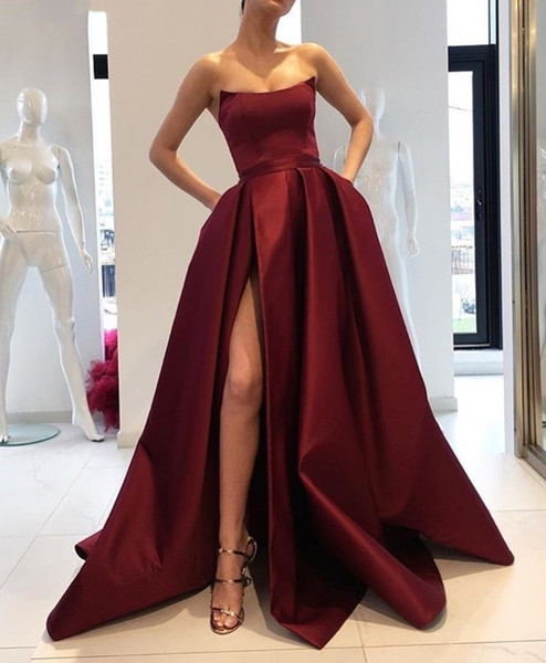 Burgundy Long Evening Dresses 2019 High Split Formal Pageant Gowns 2018 Tailored Celebrity Red Carpet Prom Dress Cheap Custom Made
