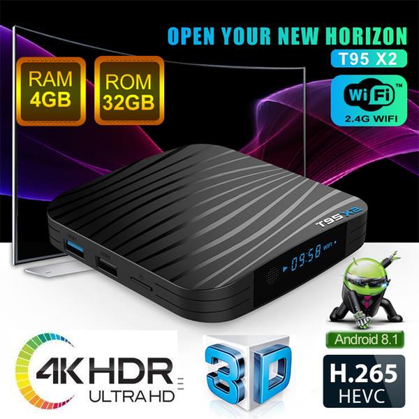 T95X2 Amlogic S905X2 Quad Core 4K Smart Android 8.1 TV-Box 4 GB 32 GB Unterstützung Bluetooth Wifi 2.4G Set Top Box