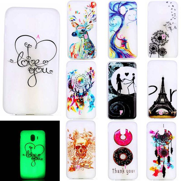 Glow In Dark Case For Huawei P20 Pro Lite Galaxy J3 J4 J6 J7 A6 Plus 2018 Soft TPU Skull Eiffel Tower Donut Luminous Lover Cartoon Gel Cover