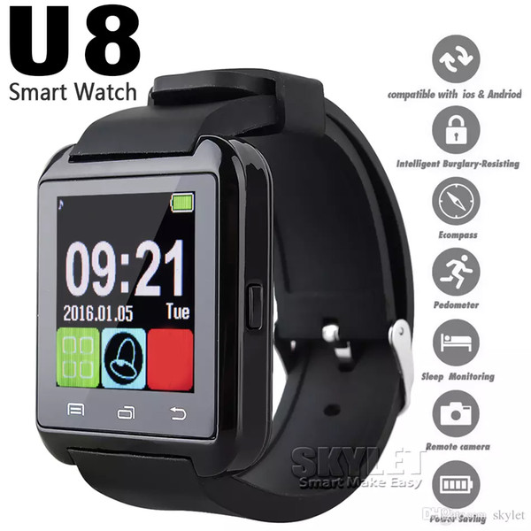 Bluetooth u8 martwatch wri t watche touch creen for iphone 7 am ung 8 android phone leeping monitor mart watch with retail package