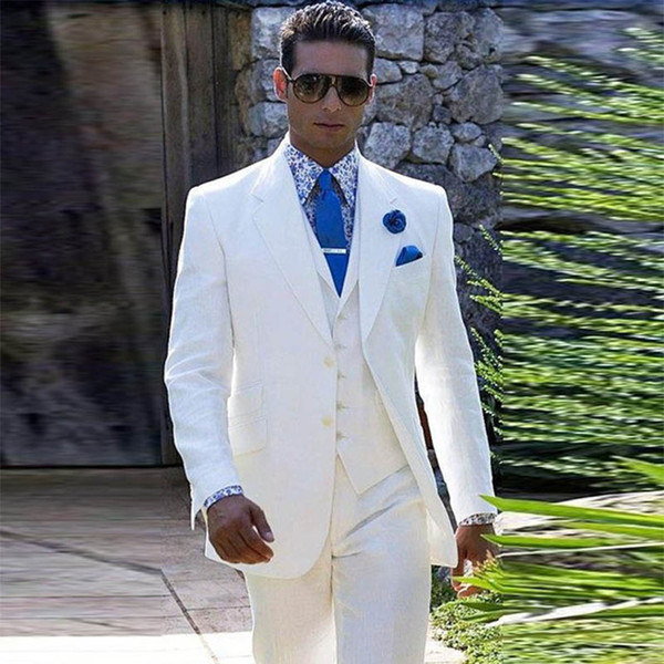 2019 Italian Luxury Beige/White Mens Suit Jacket Pants Formal Dress Men  Suit Set Men Wedding Suit For Men Groom Tuxedos Suits 2018 From Linhaiyao,