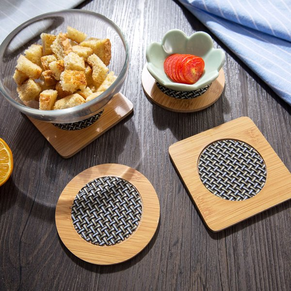 Practical Bamboo Table Cup Mat Round place mat Coffee Drinks Coasters, kitchen accessories.