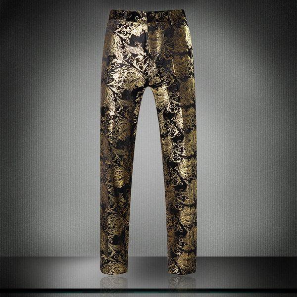 2017 Top Brand Design Golden Printed Men's Suit pants luxurious flower designed casual pants for men 31-38
