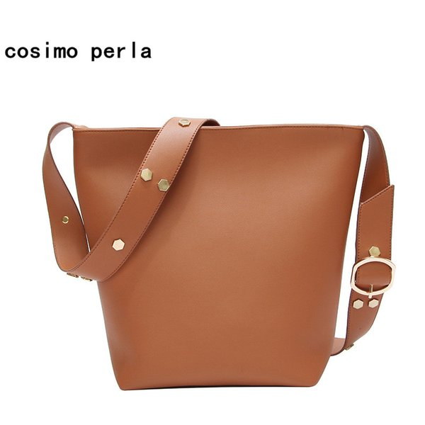 Europe Fashion Big Bucket Handbags for Women Crossbody Bag Sequins Shoulder PU Leather Wide Strap Belt Shopping Totes 2018 Lady