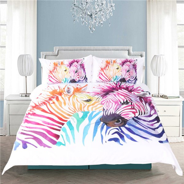 Colorful Safari Zebra Duvet Cover Bedding Set Animal Bed Cover Pillow Case Twin Full Queen King Size Home