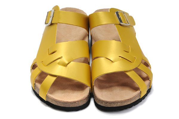 Ladies hollow flat bottom leather new fashion Joker non-slip ladies single row flat bottom indoor and outdoor single row buckle slippers 36