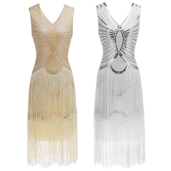 Compre Vestido Gatsby Charleston Lentejuelas De Lentejuelas Con Cuentas De Flecos Blancos Vestido De Robe Con Doble Cuello En V Sin Mangas Vestido De