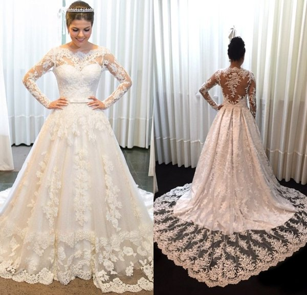 Simple Vintage Lace Long Sleeve Wedding Dresses A Line Jewel Bow Sweep Train Zipper Back Wedding Gowns Bridal Dresses Custom Made Kleider