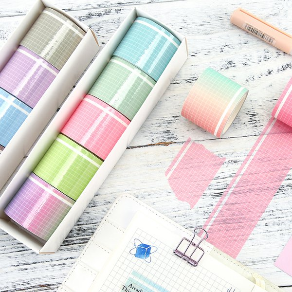 best selling 35mm wide Simple Solid Color grid Decorative Adhesive Tape Masking Washi Tape DIY Scrapbooking Sticker Label Kawaii Stationery 2016