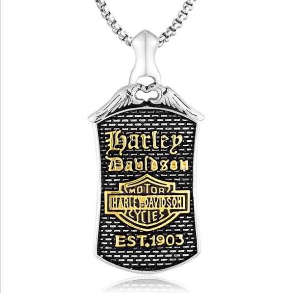 High Quality Antique 316L Stainless Steel Motor Biker Pendant Necklace Jewelry Classic Skull Gothic Punk Men Pendant