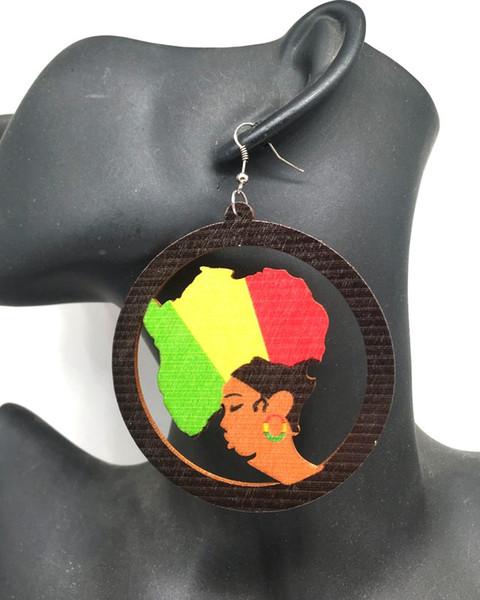 Afrikanisches Haar Frau Holz Ohrringe
