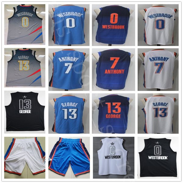 online store b0bfa a844c 2018 College The City Edition 0 Russell Westbrook Jersey Blue White 7  Carmelo Anthony Stitched All Star Black White 13 Paul George Jerseys Shorts  From ...