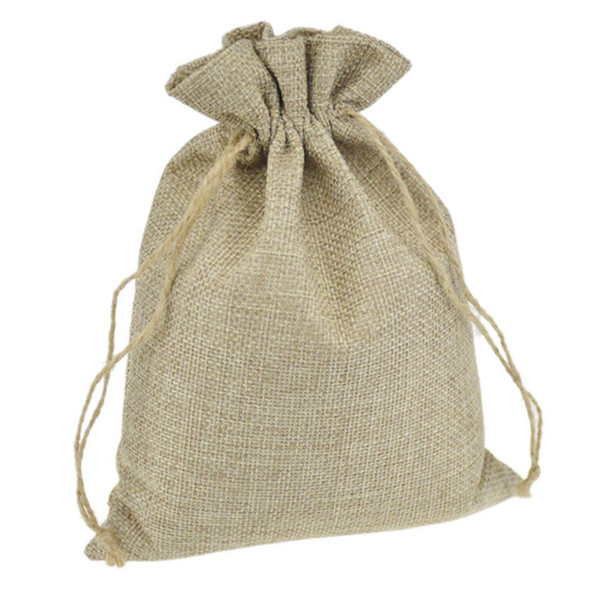 100Pcs Linen Drawstring Bags Wedding Favor Craft DIY Christmas Home Party Gift Bag 7*9cm 8*11cm 9*12cm 10*15cm