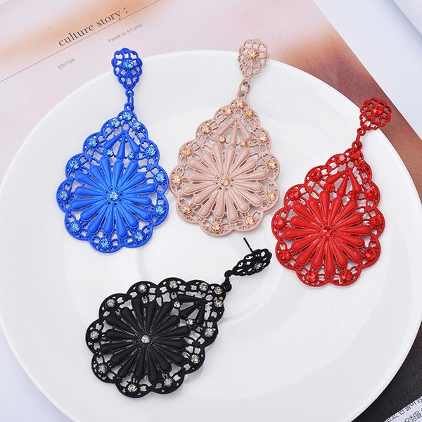 12 pairs,Baroque style Fine jewelry Earrings Inlaid Austria Crystal Retro elements Spray paint flower type brand Hollowed out girl Ear Studs