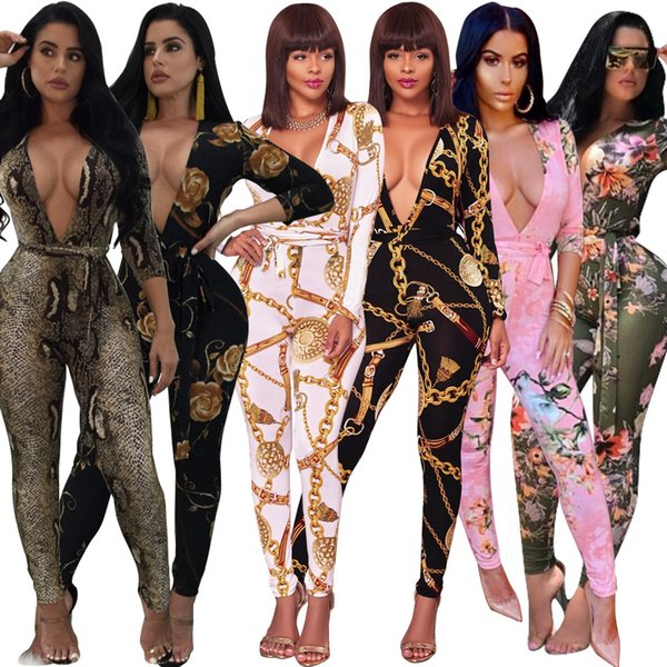 Women Deep V-neck Jumpsuit long sleeve Rompers with sashes belt Overalls Bodysuit Designer clothes print night club leggings tights