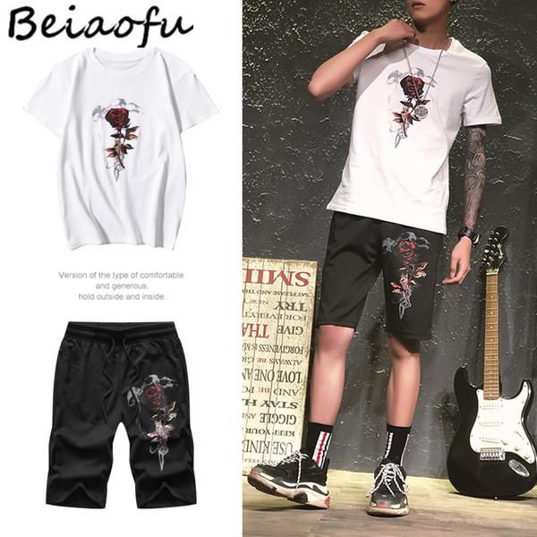 Beiaofu Marke Hip Pop Gedruckt Männer T-shirt Sets Baumwolle Shorts Leeve Hemd Männlichen Casual T Mit Hosen Sommer Herrenbekleidung